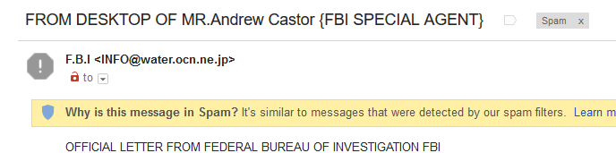 FBI spam subject line